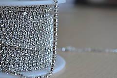 Galantéria - Štrasová borta crystal clear 2mm, 0.30€/10cm - 8366161_