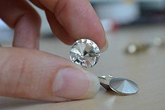 Komponenty - Kabošon sklenený rivoli crystal clear 12mm, 0.30€/ks - 8366116_
