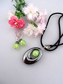 Sady šperkov - nefrit hematit a striebro náušnice a prívesok - 8368636_