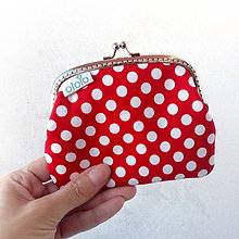 Peňaženky - Peňaženka XL Červená s bodkami - 8368063_