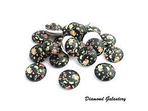 Komponenty - Kabošon 12 mm - Kvety na čiernom - 8371037_