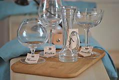 Dekorácie - kožené menovky na poháre - 8370359_