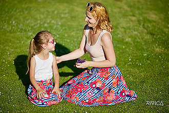 Sukne - námornícka sukňa s vlčími makmi - 8371125_