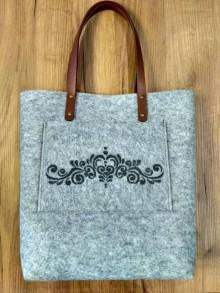 Kabelky - Filcová kabelka s folkovým vzorom - 8338498_