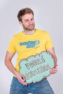 Tričká - Dobrá krajina: Tričko DOBRÁČISKO JEDEN unisex žlté - 8373830_