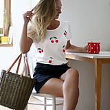 - Dámske tričko s čerešničkami (potlač) - 8372442_