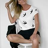 Tričká - Dámske tričko Lastovičky (potlač) - 8372493_