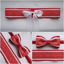 Opasky - červeno biely opasok FOLK pre dámy - 8374285_