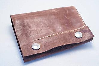 Peňaženky - Kožená peňaženka MontMat-hnědá, béžové obšití - 8372530_