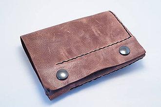 Peňaženky - Kožená peňaženka MontMat-hnědá, hnědé obšití - 8372551_