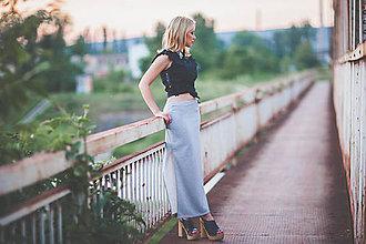 Sukne - Sivá úzka dlhá sukňa - 8373792_