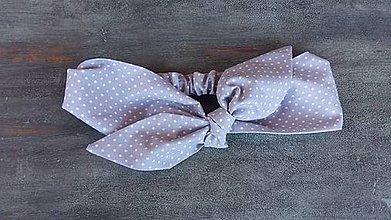 Ozdoby do vlasov - Čelenka sivo -biela bodkovaná - 8373984_