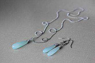 Sady šperkov - ocel náhrdelník a naušnice s pravým chalcedonem - 8372397_