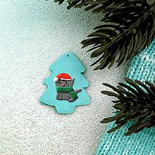 Dekorácie - Vianočná ozdoba so zvieratkom - vianočný stromček a mačka - 8373672_