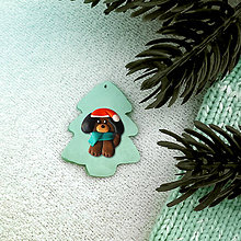Dekorácie - Vianočná ozdoba so zvieratkom - vianočný stromček a psík - 8374212_