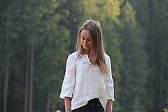 Topy - Ľanový top s volánikovým 3/4 rukávom - 8376099_