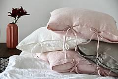 Úžitkový textil - Ľanový vankúš 50X50 (Ružová) - 8376134_