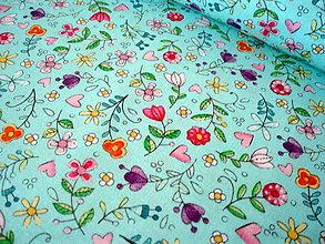 Textil - Dizajnová bavlna Bitty Blooms in Aqua - 8377462_