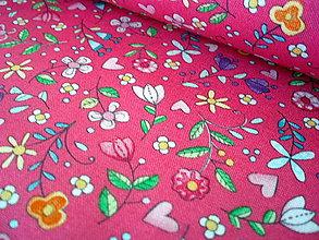 Textil - Dizajnová bavlna Bitty Blooms in Pink - 8377498_