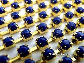 Komponenty - Štrasová borta - cukríková kráľovská modrá - cena za 10 cm - 8376855_