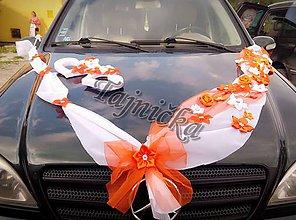 Iné doplnky - Oranžová svadobná výzdoba na auto - 8378084_