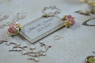 Papiernictvo - Veľký biely romantický svadobný fotoalbum - 8378004_