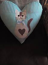 Úžitkový textil - srdiečko vankúš s mačičkou - 8375912_