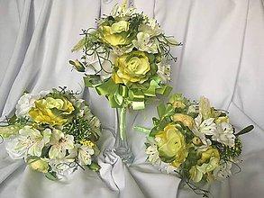 Kytice pre nevestu - dekorácie-kytice na svadobný stôl-zeleno-biele - 8377172_