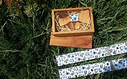 - Pánsky set - drevený motýlik, manžetové gombíky a traky - 8375813_