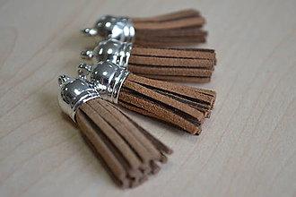 Polotovary - Kožený strapec hnedý (striebro), 35mm, 0.28€/ks - 8376530_
