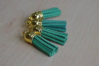 Polotovary - Kožený strapec trávový (zlato) 35mm, 0.28€/ks - 8376550_