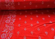 Textil - biela bordúra na červenom - 8376895_