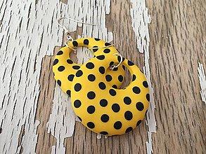 Náušnice - RETRO bodky v žltom- obojstranné - 8377202_
