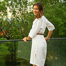 Šaty - Ľanové šaty Bielka - 8379676_