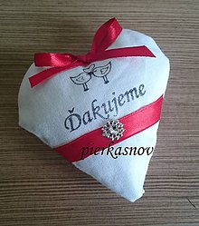 Darčeky pre svadobčanov - srdiečka s levanduľou bielo červené - 8379911_