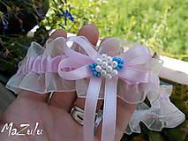 Bielizeň/Plavky - Svadobný podväzok v ružovom - 8378900_