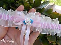 Bielizeň/Plavky - Svadobný podväzok v ružovom - 8378902_