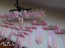 Bielizeň/Plavky - Svadobný podväzok v ružovom - 8378903_