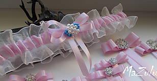 Bielizeň/Plavky - Svadobný podväzok v ružovom - 8378907_