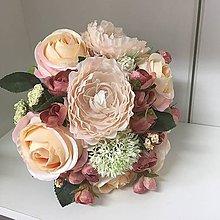 Kytice pre nevestu - vintage svadobná kytica ružová - 8381119_