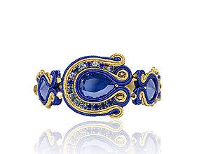 Náramky - Modro-zlatý náramok - 8378950_