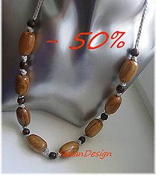 Náhrdelníky - drevený háčkovaný predlžený náhrdelník / -50% - 8378663_