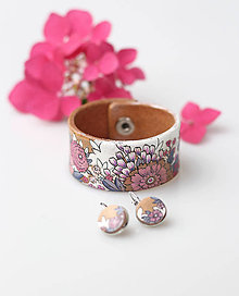 Náramky - Ružový kožený kvetinový náramok s náušnicami - 8380693_