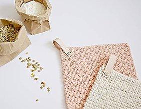 Úžitkový textil - Chňapky II EXTRA hrubé - marhuľková/béžová (Béžová) - 8380771_