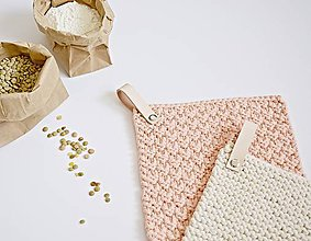 Úžitkový textil - Chňapky II EXTRA hrubé - marhuľková/béžová - 8380771_
