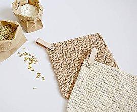 Úžitkový textil - Chňapky II EXTRA hrubé - hnedá/béžová (Béžová) - 8380804_