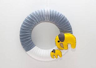 Detské doplnky - žlto-sivý veniec s filcovými sloníkmi - 8381663_
