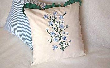 Úžitkový textil - Návlečka na leto s modrým kvetom - 8378957_