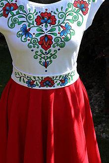 Šaty - Bielo-červené šaty s farebnou folk maľbou... - 8379665_
