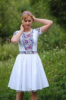 Šaty - Maľované folk biele šaty s krátkym rukávom... - 8380204_